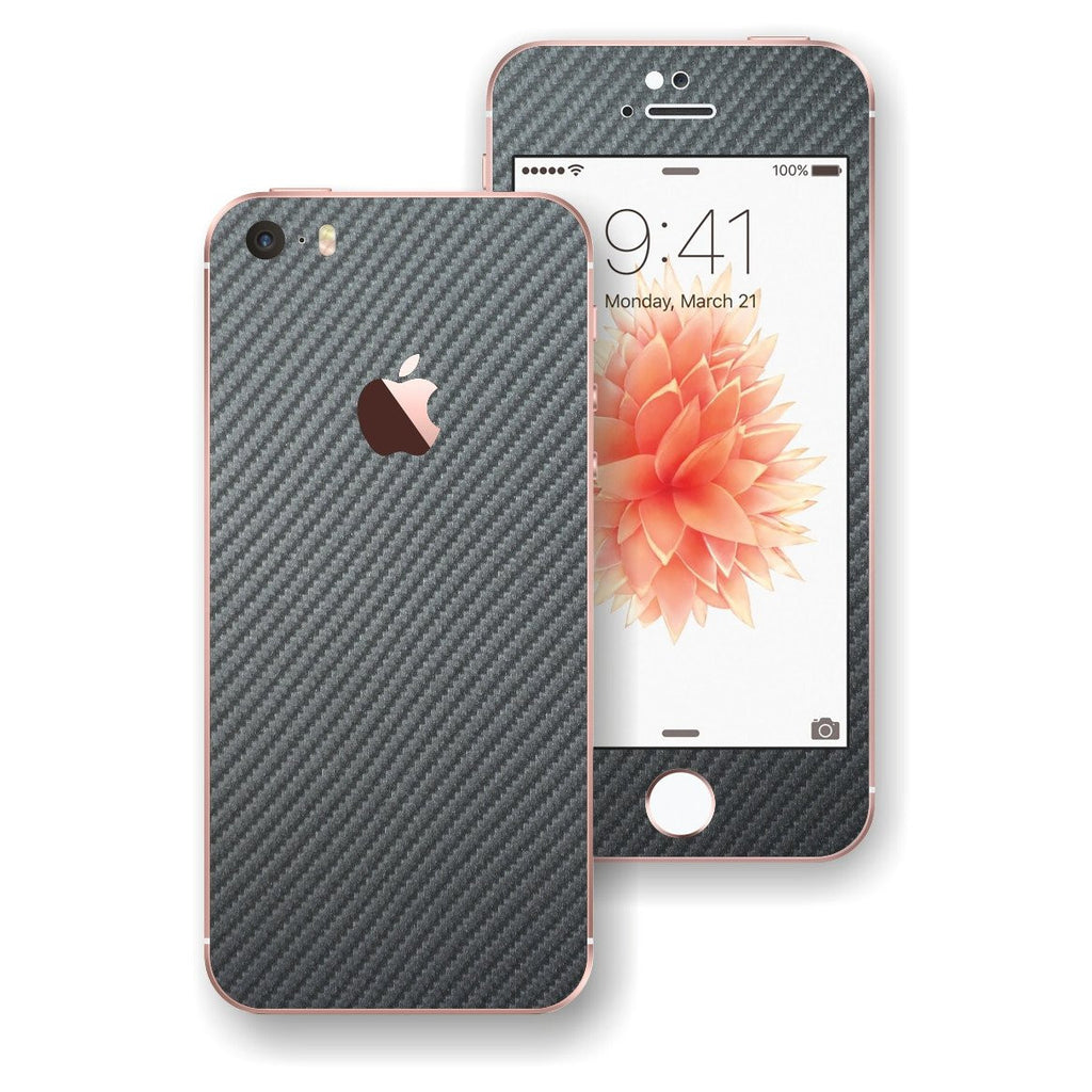 iPhone SE Metallic Grey 3D Carbon Fibre Fiber Skin Wrap Decal Sticker Cover Protector by EasySkinz
