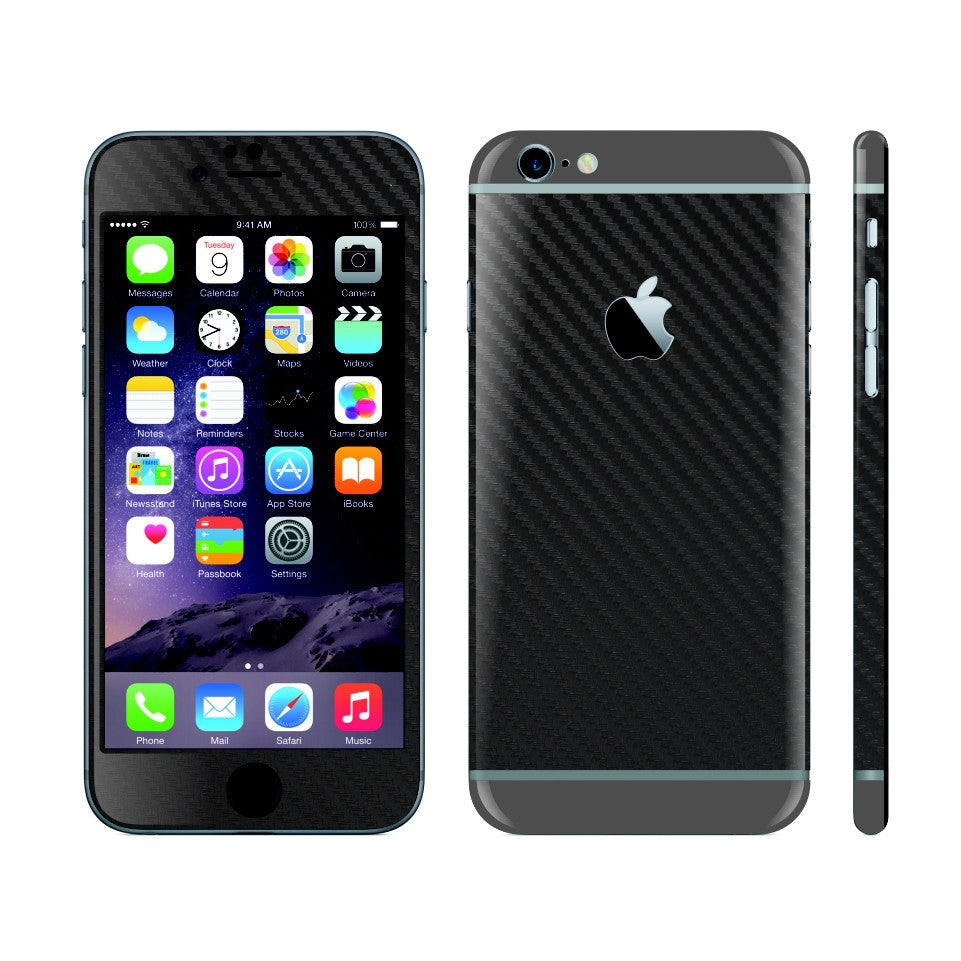 iPhone 6S PLUS Black Carbon Fibre Skin with Space Grey Matt Highlights Cover Decal Wrap Protector Sticker by EasySkinz