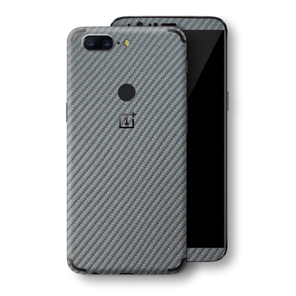 OnePlus 5T 3D Textured Metallic GREY Carbon Fibre Fiber Skin, Decal, Wrap, Protector, Cover by EasySkinz | EasySkinz.com