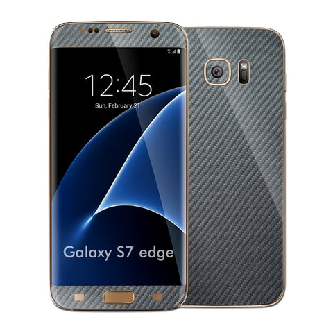 Samsung Galaxy S7 EDGE Metallic Grey 3D Carbon Fibre Fiber Skin Wrap Decal Sticker Cover Protector by EasySkinz
