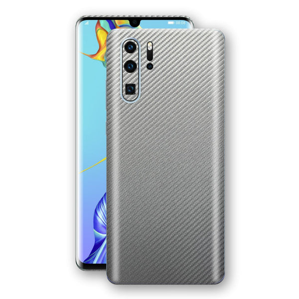 Huawei P30 PRO 3D Textured Metallic Grey Carbon Fibre Fiber Skin, Decal, Wrap, Protector, Cover by EasySkinz | EasySkinz.com
