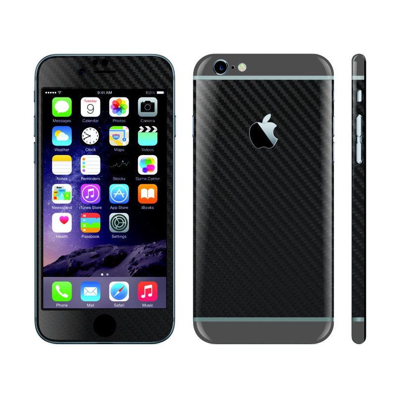 iPhone 6 Plus Black Carbon Fibre Skin with Space Grey Matt Highlights Cover Decal Wrap Protector Sticker by EasySkinz