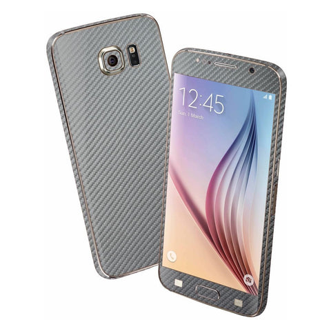 Samsung Galaxy S6 Metallic Grey 3D CARBON Fibre Fiber Skin Wrap Sticker Cover Decal Protector by EasySkinz