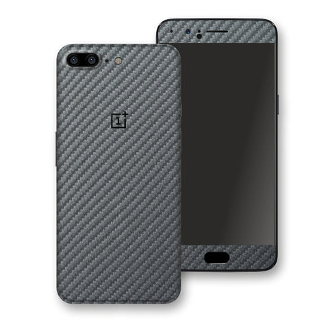 OnePlus 5 3D Textured Metallic Grey  Carbon Fibre Fiber Skin, Decal, Wrap, Protector, Cover by EasySkinz | EasySkinz.com