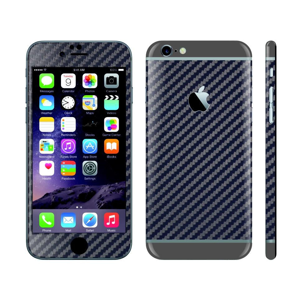 iPhone 6 NAVY BLUE Carbon Fibre Fiber Skin with Space Grey Matt Highlights Cover Decal Wrap Protector Sticker by EasySkinz