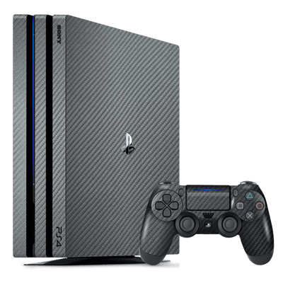 Playstation 4 PRO PS4 PRO Metallic Grey Carbon Fibre Fiber Skin Wrap Decal by EasySkinz