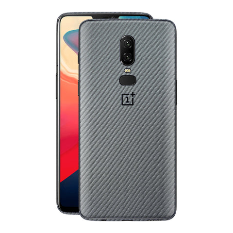 OnePlus 6 3D Textured Metallic GREY Carbon Fibre Fiber Skin, Decal, Wrap, Protector, Cover by EasySkinz | EasySkinz.com