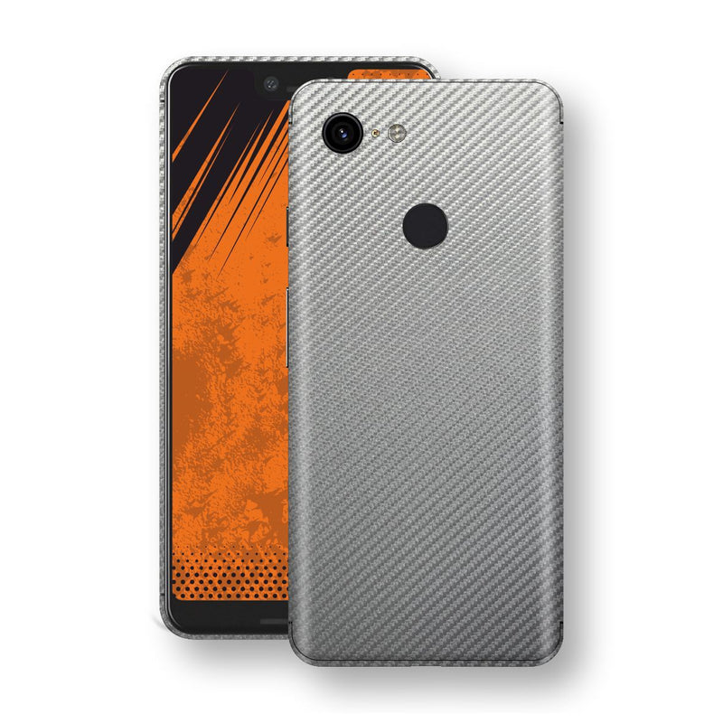 Google Pixel 3 XL 3D Textured Metallic Grey Carbon Fibre Fiber Skin, Decal, Wrap, Protector, Cover by EasySkinz | EasySkinz.com