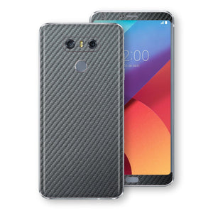 LG G6 3D Textured Metallic GREY Carbon Fibre Fiber Skin, Decal, Wrap, Protector, Cover by EasySkinz | EasySkinz.com