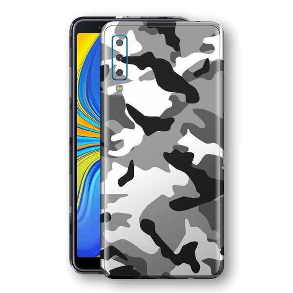 Samsung Galaxy A7 (2018) Print Custom Signature Grey Camouflage Camo Skin Wrap Decal by EasySkinz