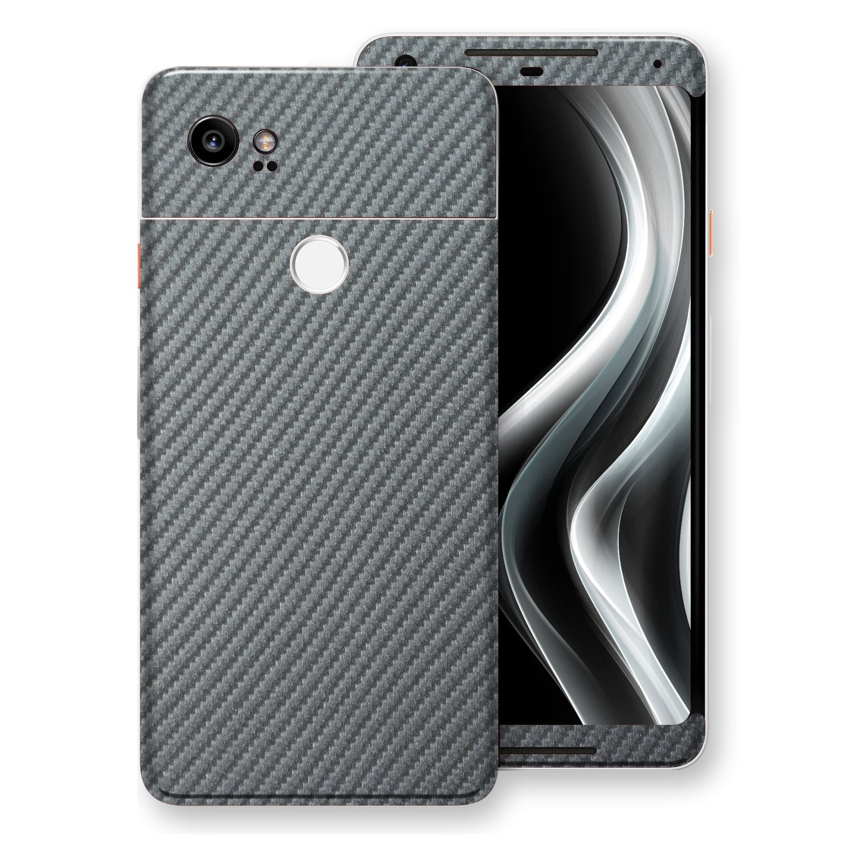 Google Pixel 2 XL 3D Textured Metallic GREY Carbon Fibre Fiber Skin, Decal, Wrap, Protector, Cover by EasySkinz | EasySkinz.com