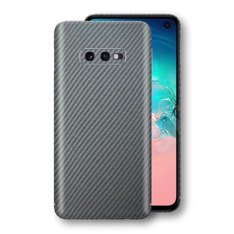 Samsung Galaxy S10e 3D Textured Metallic Grey Carbon Fibre Fiber Skin, Decal, Wrap, Protector, Cover by EasySkinz | EasySkinz.com