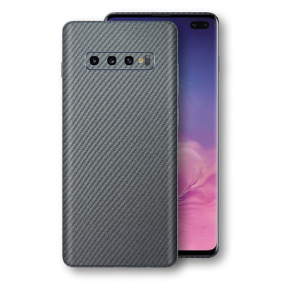Samsung Galaxy S10+ PLUS 3D Textured Metallic Grey Carbon Fibre Fiber Skin, Decal, Wrap, Protector, Cover by EasySkinz | EasySkinz.com