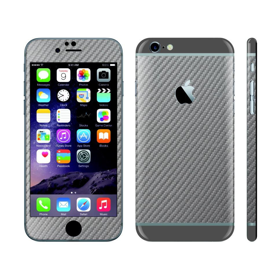 iPhone 6 Plus Metallic Grey Carbon Fibre Skin with Space Grey Matt Highlights Cover Decal Wrap Protector Sticker by EasySkinz