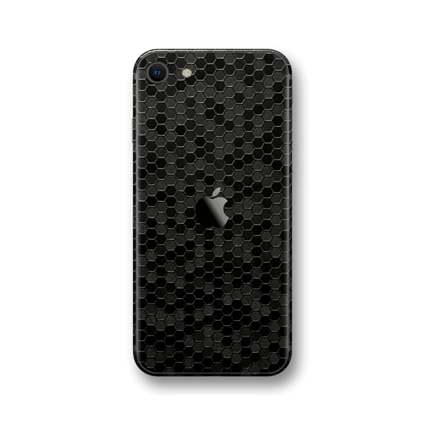 iPhone SE (2020) BLACK Honeycomb 3D Textured Skin Wrap Sticker Decal Cover Protector by EasySkinz
