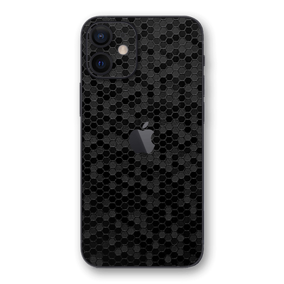 iPhone 12 mini BLACK Honeycomb 3D Textured Skin Wrap Sticker Decal Cover Protector by EasySkinz