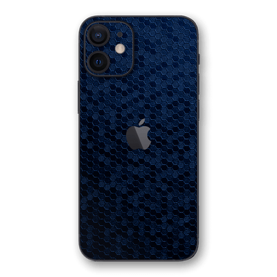 iPhone 12 mini Navy Blue Honeycomb 3D Textured Skin Wrap Sticker Decal Cover Protector by EasySkinz