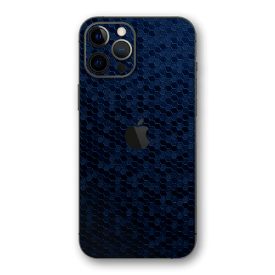 iPhone 12 Pro MAX Navy Blue Honeycomb 3D Textured Skin Wrap Sticker Decal Cover Protector by EasySkinz