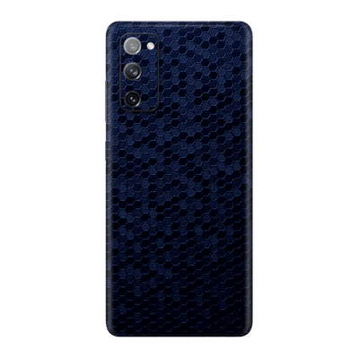 Samsung Galaxy S20 FE Luxuria Navy Blue Honeycomb 3D Textured Skin Wrap Sticker Decal Cover Protector by EasySkinz
