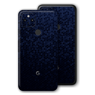 Pixel 4a 5G Luxuria Navy Blue Honeycomb 3D Textured Skin Wrap Sticker Decal Cover Protector by EasySkinz