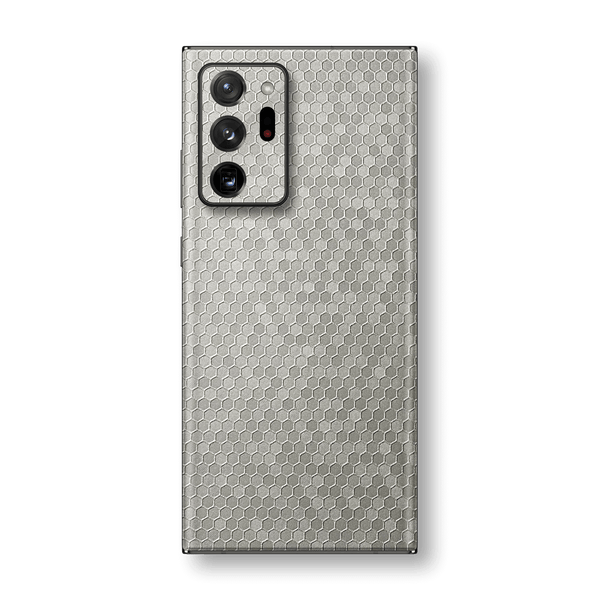 Samsung Galaxy NOTE 20 ULTRA Silver Honeycomb 3D Textured Skin Wrap Sticker Decal Cover Protector by EasySkinz