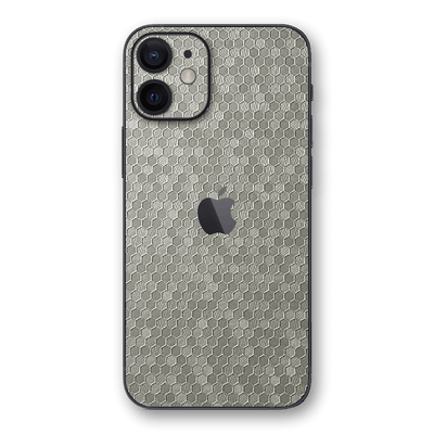 iPhone 12 SILVER Honeycomb 3D Textured Skin Wrap Sticker Decal Cover Protector by EasySkinz