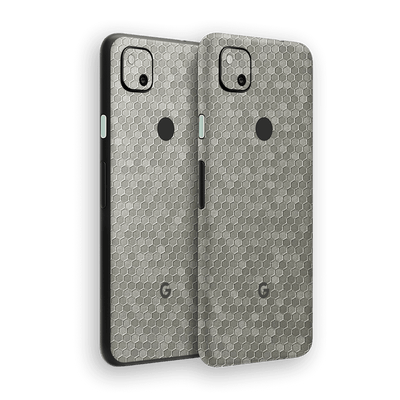 Google Pixel 4a Silver Honeycomb 3D Textured Skin Wrap Sticker Decal Cover Protector by EasySkinz