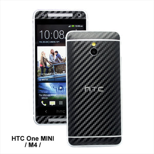 htc one mini m4 carbon fibre black skin