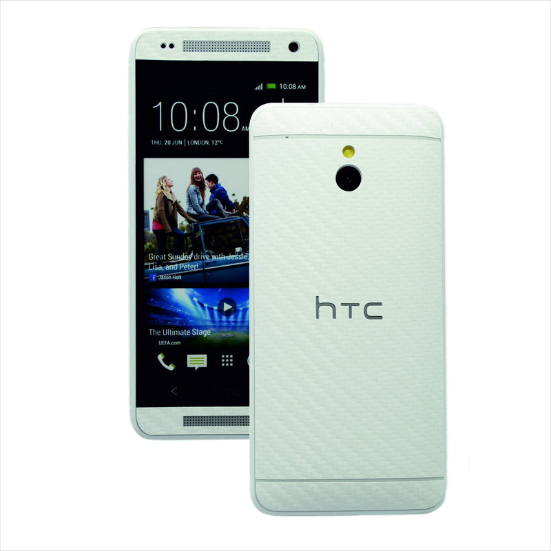 HTC One Mini M4 white carbon fibre skin