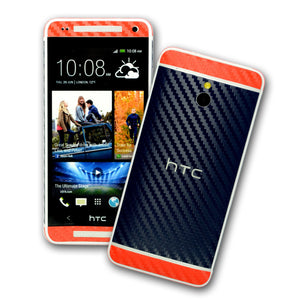 HTC One MINI M4 two tone carbon navy blue with red skin