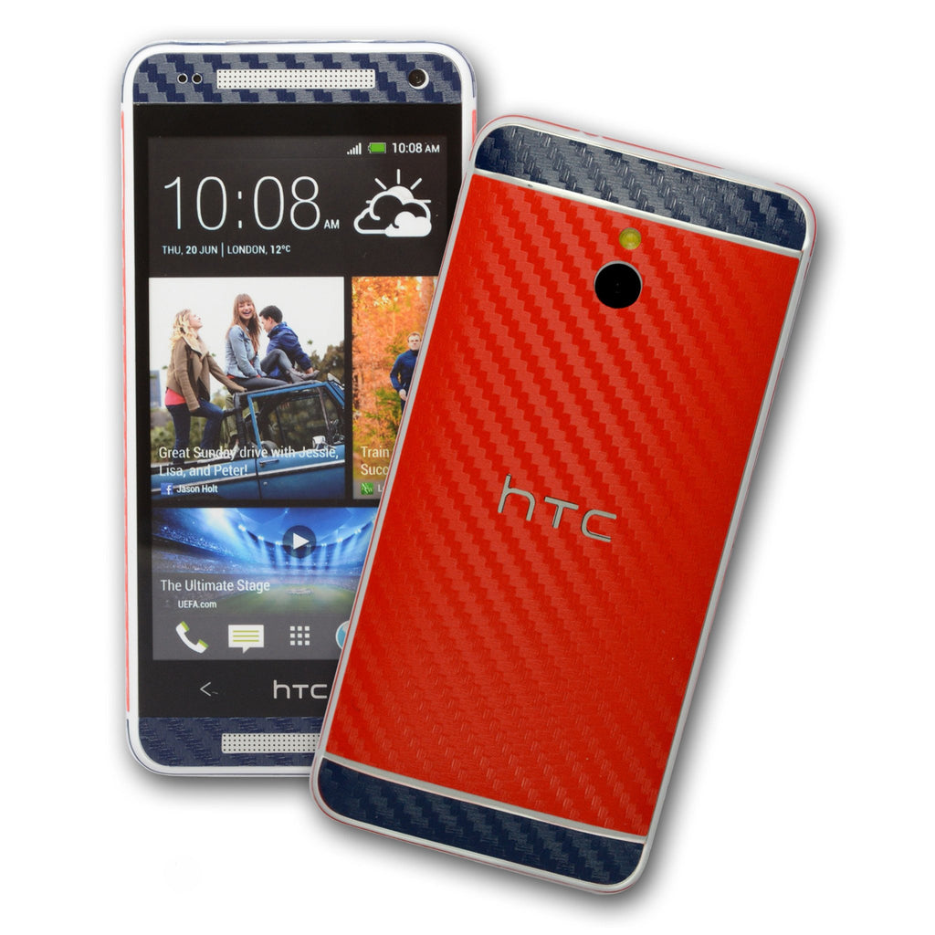 HTC One MINI M4 two tone carbon fibre skin red + navy blue