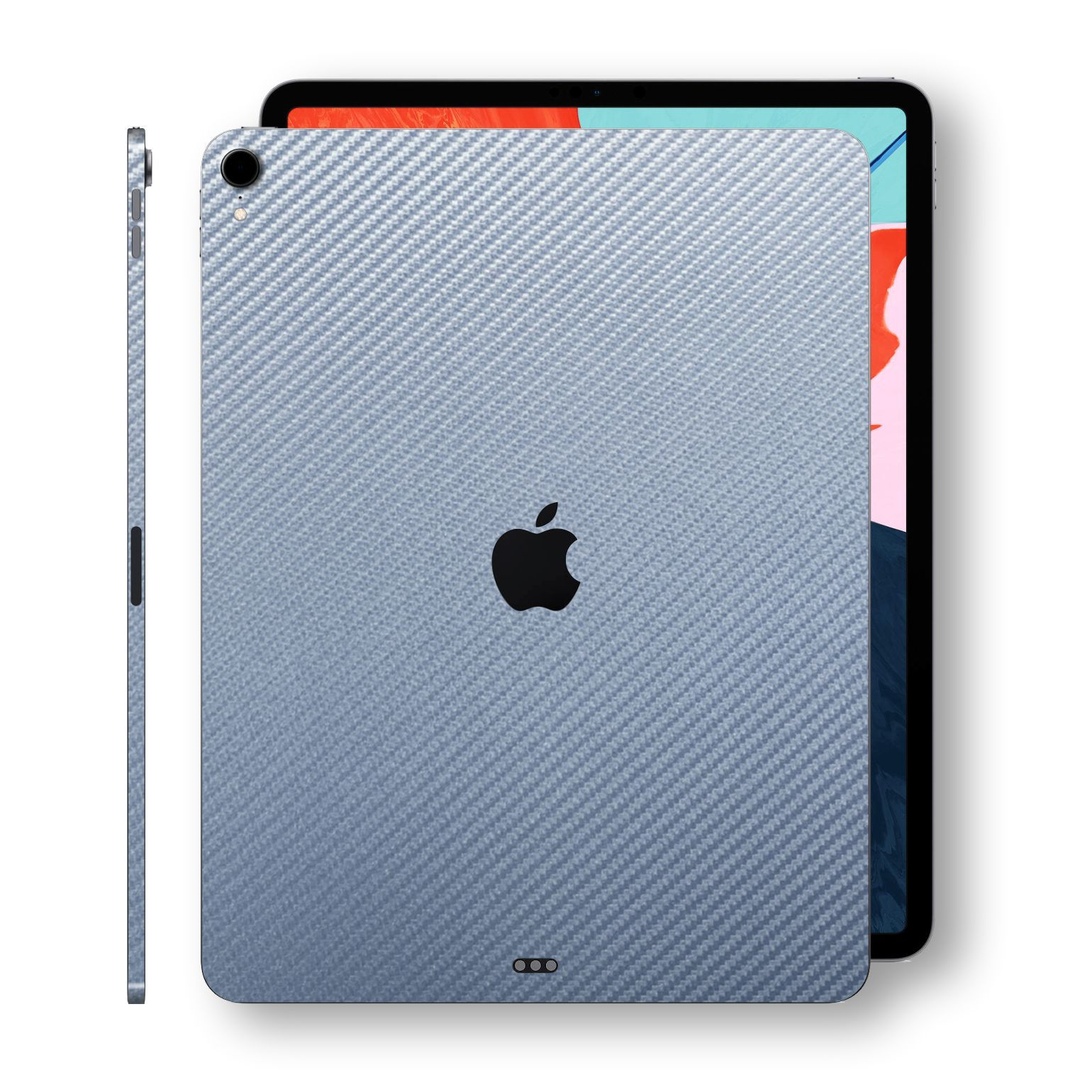 "iPad PRO 12.9"" 3rd Generation 2018 Arctic Blue 3D Textured CARBON Fibre Fiber Skin Wrap Sticker Decal Cover Protector by EasySkinz"