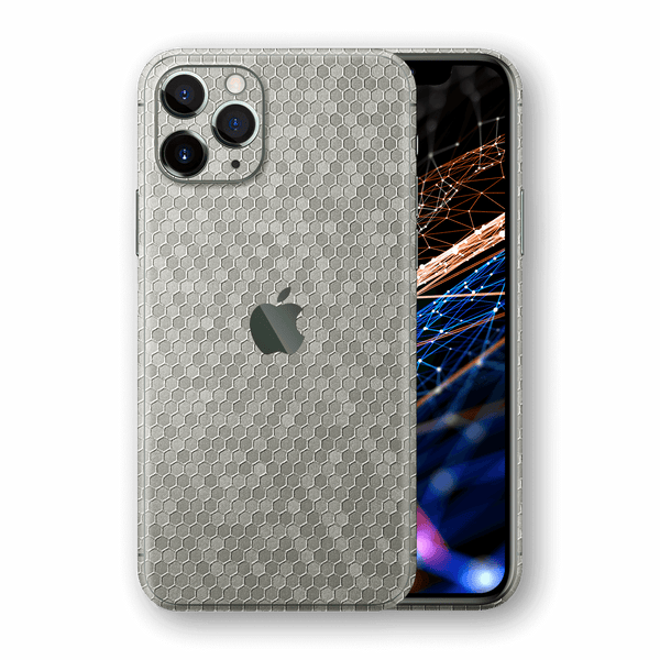 iPhone 11 PRO MAX SILVER Honeycomb 3D Textured Skin Wrap Sticker Decal Cover Protector by EasySkinz