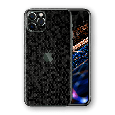 iPhone 11 PRO MAX BLACK Honeycomb 3D Textured Skin Wrap Sticker Decal Cover Protector by EasySkinz
