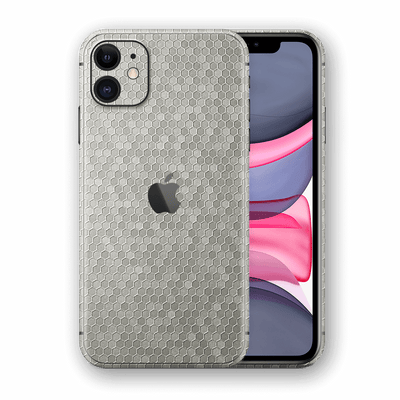 iPhone 11 SILVER Honeycomb 3D Textured Skin Wrap Sticker Decal Cover Protector by EasySkinz