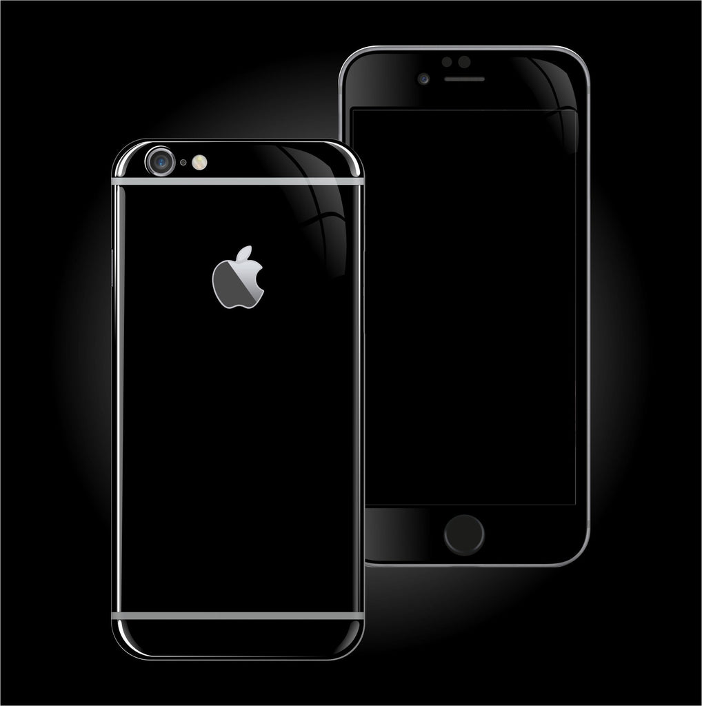black iphone 6s iphone 6s plus jet black high gloss skin wrap decal 10278