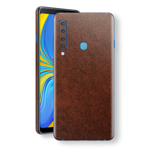 Samsung Galaxy A9 (2018) Luxuria BROWN Leather Skin Wrap Decal Protector | EasySkinz