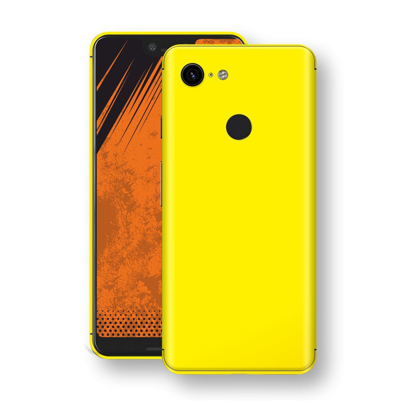 Google Pixel 3 XL Lemon Yellow Glossy Gloss Finish Skin, Decal, Wrap, Protector, Cover by EasySkinz | EasySkinz.com