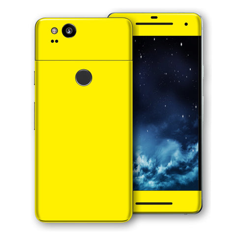 Google Pixel 2 Lemon Yellow Glossy Gloss Finish Skin, Decal, Wrap, Protector, Cover by EasySkinz | EasySkinz.com