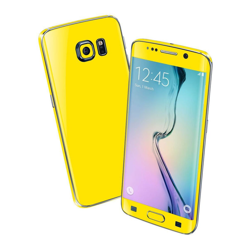 Samsung Galaxy S6 EDGE Colorful GLOSS GLOSSY Lemon Yellow Skin Wrap Sticker Cover Protector Decal by EasySkinz