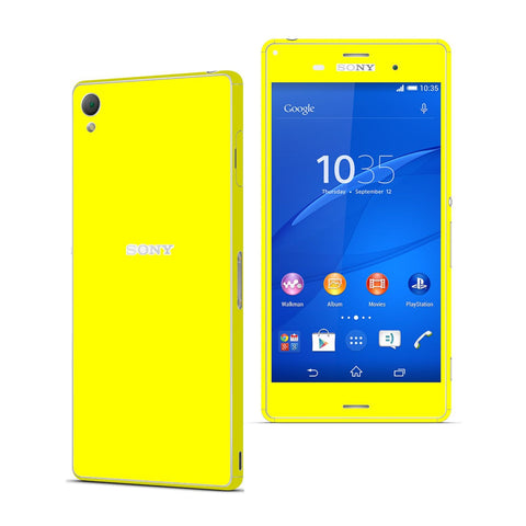Sony Xperia Z3 Lemon Yellow Glossy Skin Wrap Sticker Cover Decal Protector. By EasySkinz.