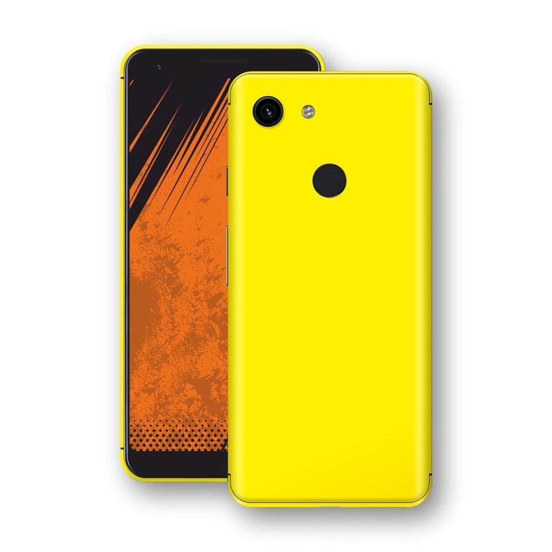 Google Pixel 3a XL Lemon Yellow Glossy Gloss Finish Skin, Decal, Wrap, Protector, Cover by EasySkinz | EasySkinz.com