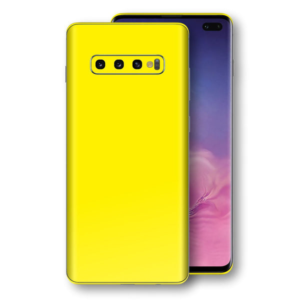 Samsung Galaxy S10+ PLUS Lemon Yellow Glossy Gloss Finish Skin, Decal, Wrap, Protector, Cover by EasySkinz | EasySkinz.com
