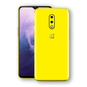 OnePlus 7 Lemon Yellow Glossy Gloss Finish Skin, Decal, Wrap, Protector, Cover by EasySkinz | EasySkinz.com
