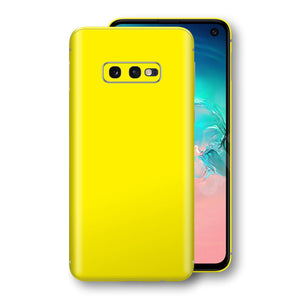 Samsung Galaxy S10e Lemon Yellow Glossy Gloss Finish Skin, Decal, Wrap, Protector, Cover by EasySkinz | EasySkinz.com