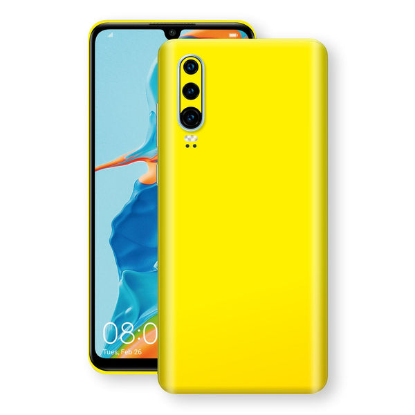 Huawei P30 Lemon Yellow Glossy Gloss Finish Skin, Decal, Wrap, Protector, Cover by EasySkinz | EasySkinz.com