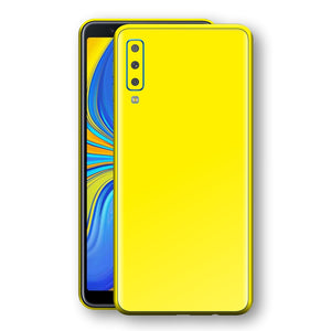 Samsung Galaxy A7 (2018) Lemon Yellow Glossy Gloss Finish Skin, Decal, Wrap, Protector, Cover by EasySkinz | EasySkinz.com