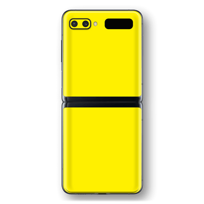 Samsung Galaxy Z Flip Lemon Yellow Glossy Gloss Finish Skin Wrap Sticker Decal Cover Protector by EasySkinz