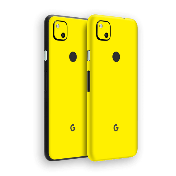 Google Pixel 4a Lemon Yellow Glossy Gloss Finish Skin Wrap Sticker Decal Cover Protector by EasySkinz