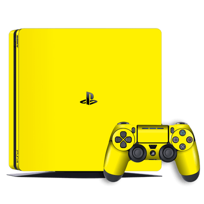 Playstation 4 SLIM PS4 Slim Glossy Lemon Yellow Skin Wrap Decal by EasySkinz